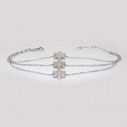 Bracelet trois fleurs Argent 925/1000 Oxyde de Zirconium