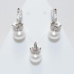 Ensemble perle avec une couronne Argent 925/1000 Oxyde de Zirconium